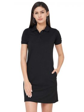 Basic PQ Polo Dress - Black
