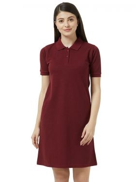 Basic PQ Polo Dress - Wine