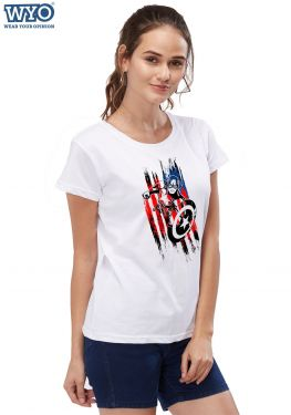 Captain America Charge Women Tshirt