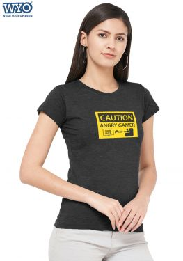 Caution Angry Gamer Women Tshirt