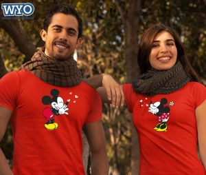 Flying Kisses Mickey Minnie Couple Tshirt (Red)