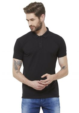 Double PQ Polo T-Shirt - Black