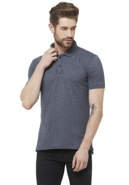 Double PQ Polo T-Shirt - Navy Grindle