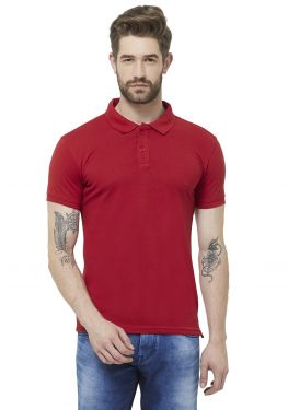 Double PQ Polo T-Shirt - Red