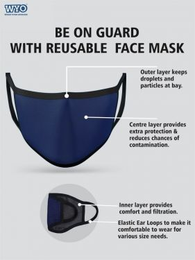 Reusable Wellness Mask - Three Ply (Pack Size 4 - 8 - 16)