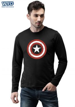 Grunge Shield Captain America - Full Sleeves