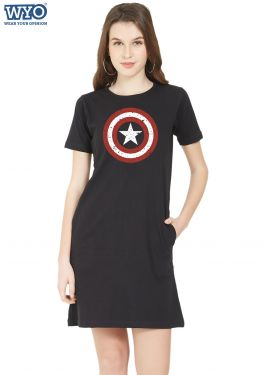 Grunge Shield Captain America TShirt Dress