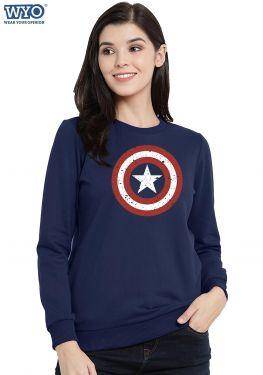 Grunge Shield Captain America - Women Sweatshirt