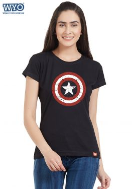 Grunge Shield Captain America Women T-Shirt