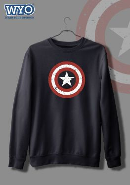 Grunge Shield Captain America - Sweatshirt