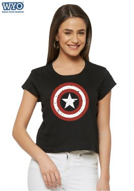 Grunge Shield Captain America Crop Top